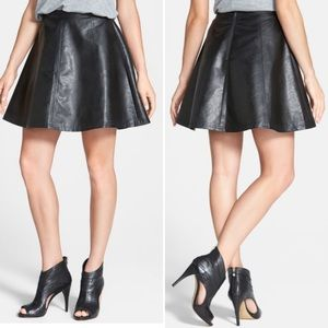 Halogen Nordstrom Faux Black Leather Circle Skirt